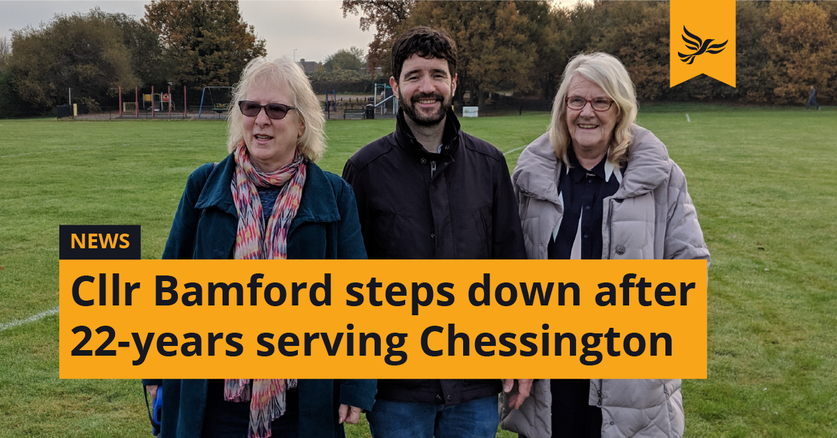 Cllr Tricia Bamford steps down after 22-years serving Chessington's residents and businesses