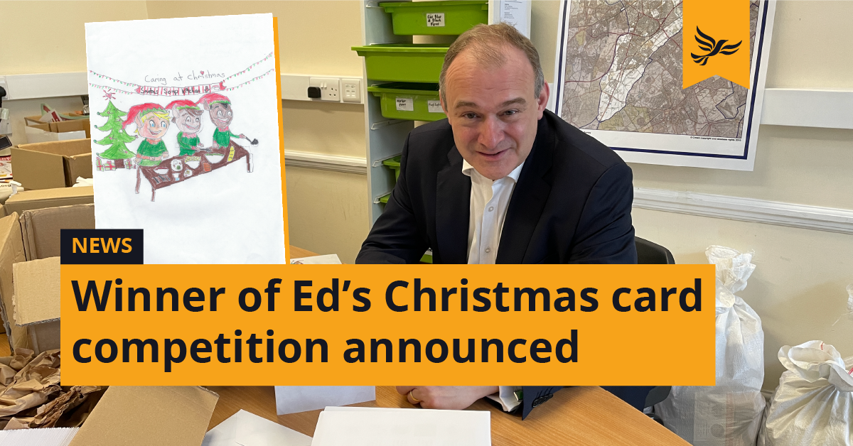 Winner of Ed Davey MP's Christmas card competition announced
