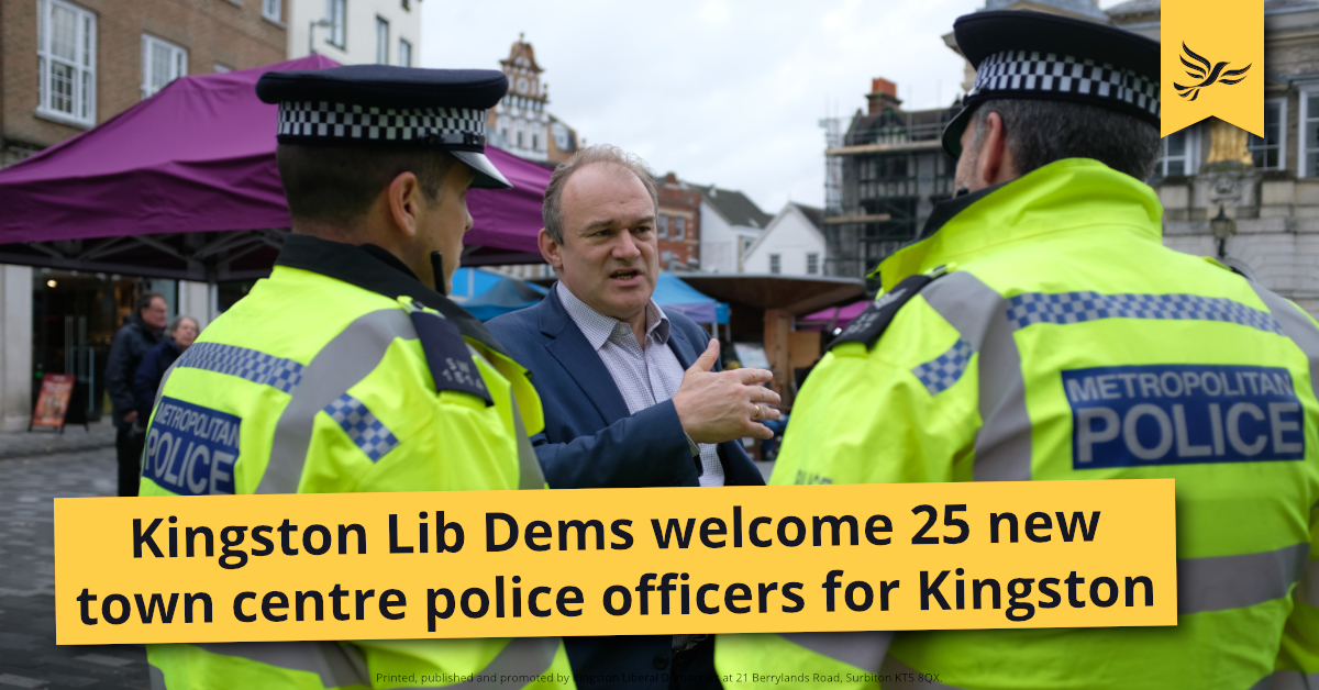 Lib Dems welcome 25 additional police officers in Kingston
