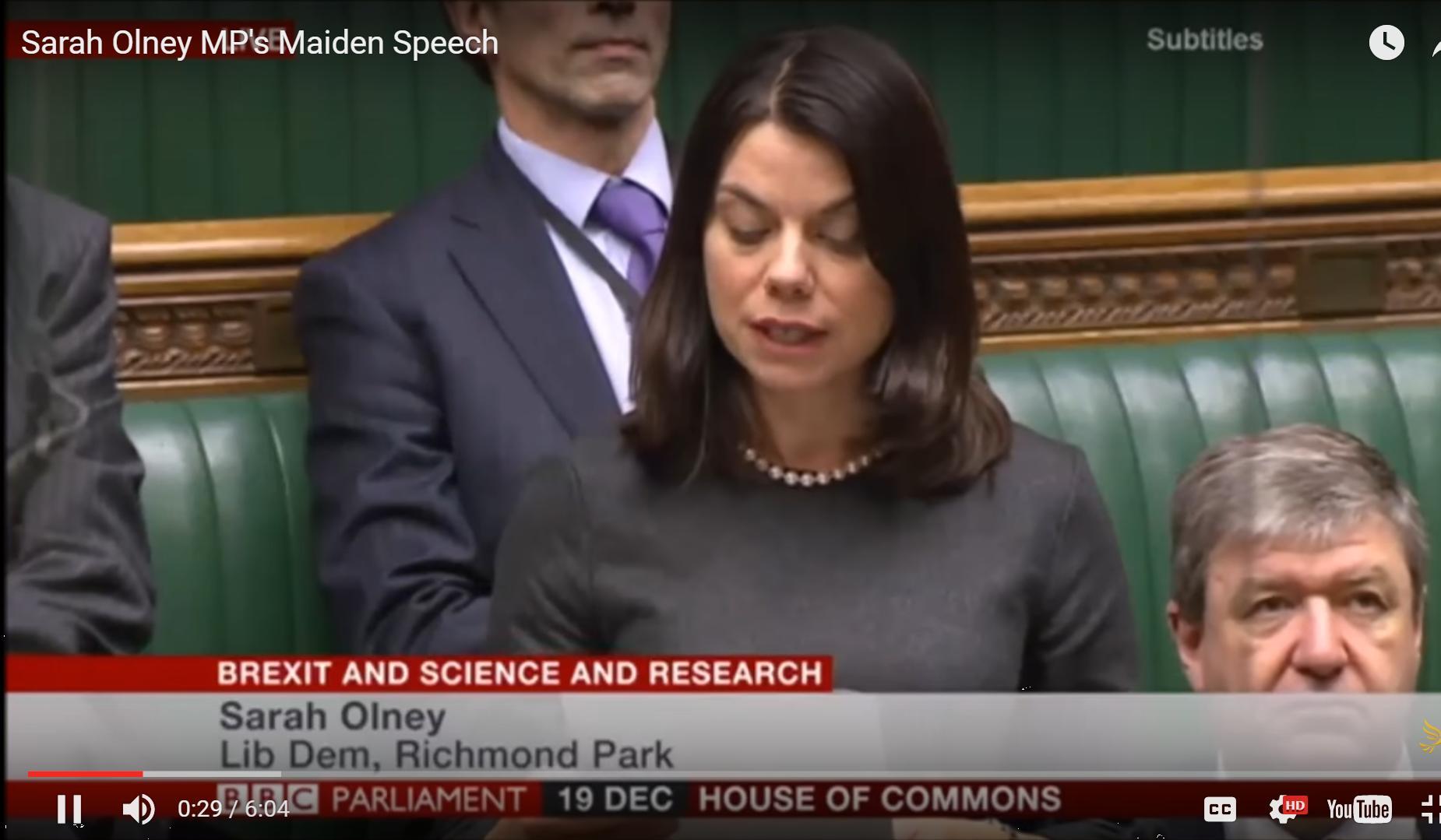 Watch Sarah Olney's maiden speech in Parliament