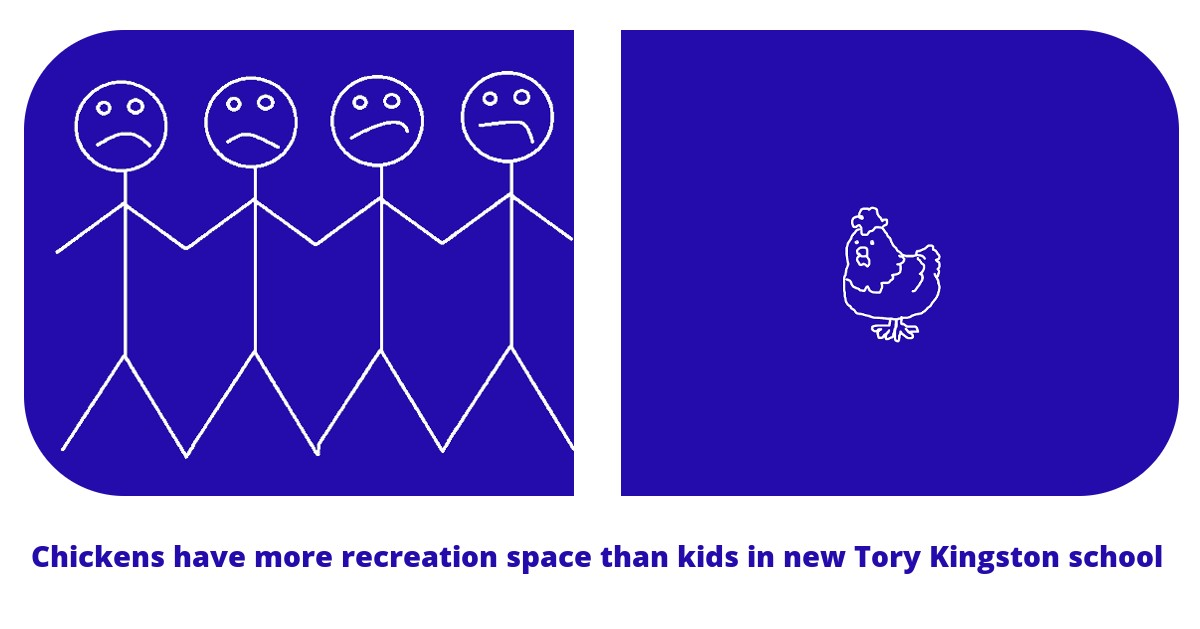 Chickens have more recreation space than kids in new Tory Kingston school. A line drawing of four unhappy stick kids standing in cramped space, contrasting with a chicken with lots of space.