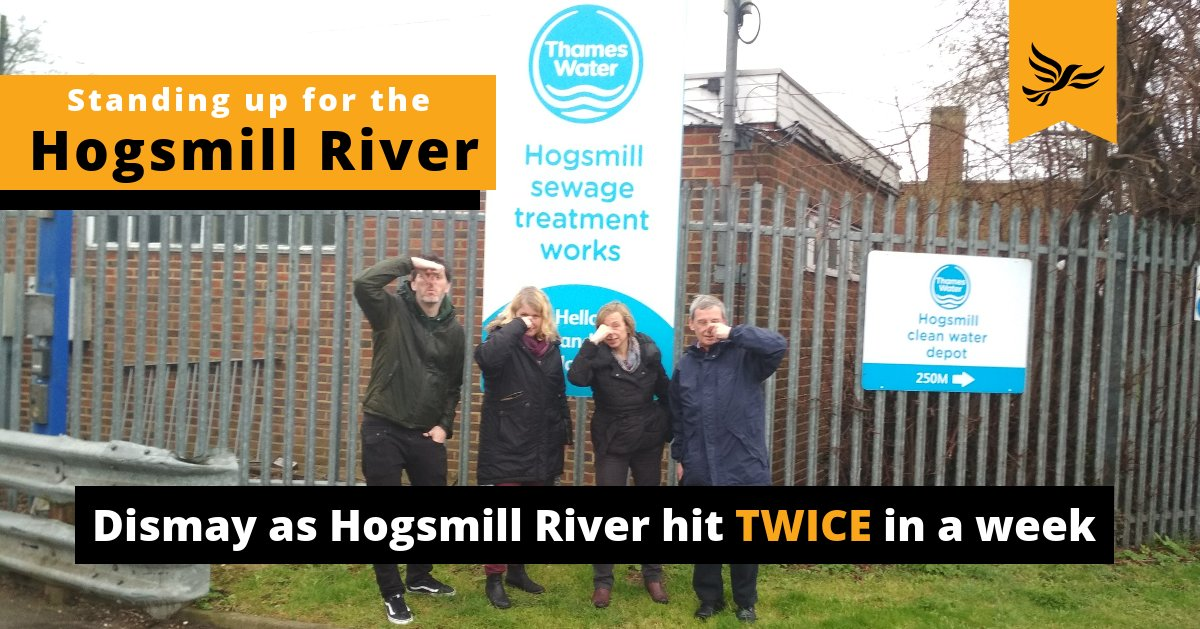 Liberal Democrat Councillors Jon Tolley, Liz Green, Hilary Gander and Malcolm Self hold tehir noses outside Thames Water's Hogsmill Sewage Treatment Plant