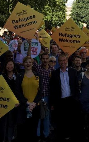 Kelly-Marie Blundell and Tim Farron MP at Refugees Welcome March in 2016