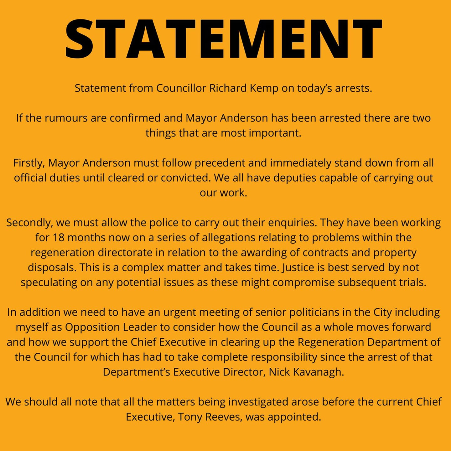 Statement on the arrest of the Mayor of Liverpool