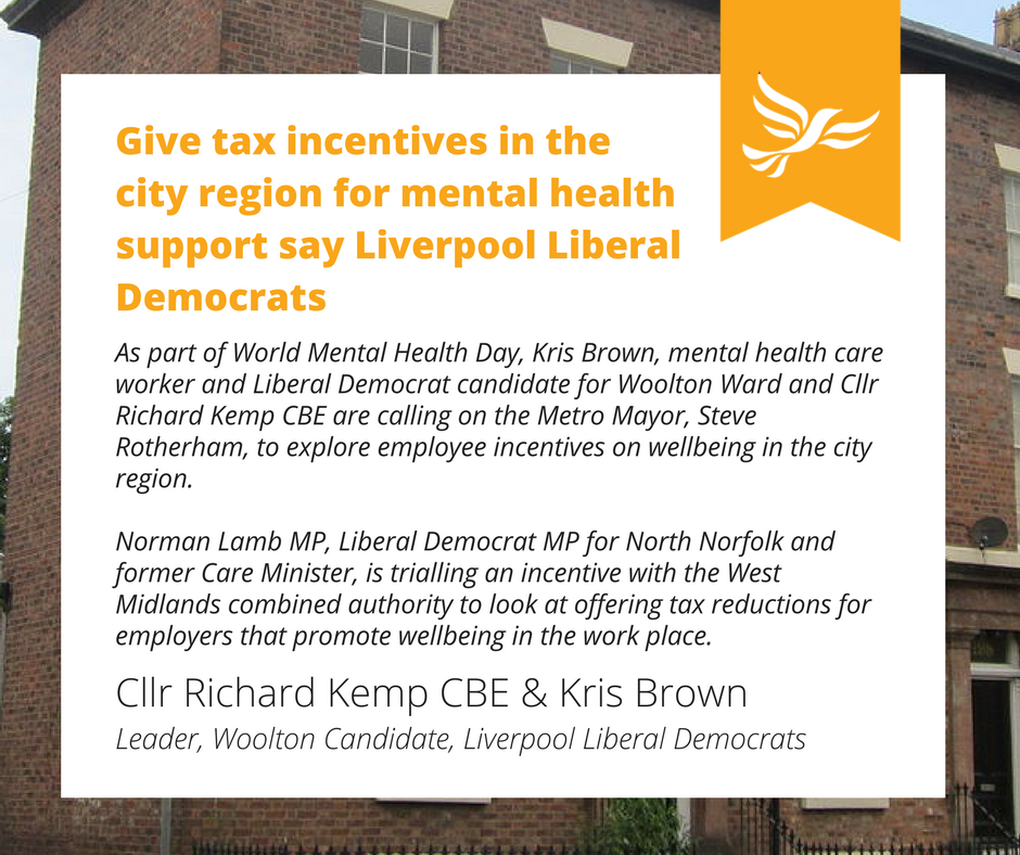 Give Tax Incentives In The City Region For Mental Health Support Say Liverpool Liberal Democrats