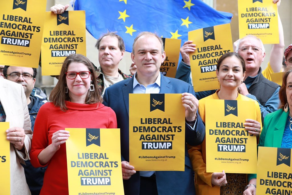 Siobhan Benita stand alongside Lib Dem leadership contenders Jo Swinson and Ed Davey during the Liberal Democrat protest against Donald Trump's State Visit