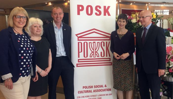 Caroline Pidgeon and Tim Farron visit Polish centre defaced by racists