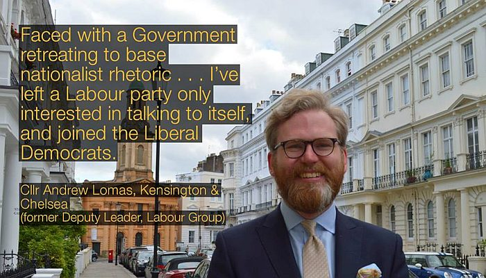 Leading Labour councillor quits the party and joins the Lib Dems.