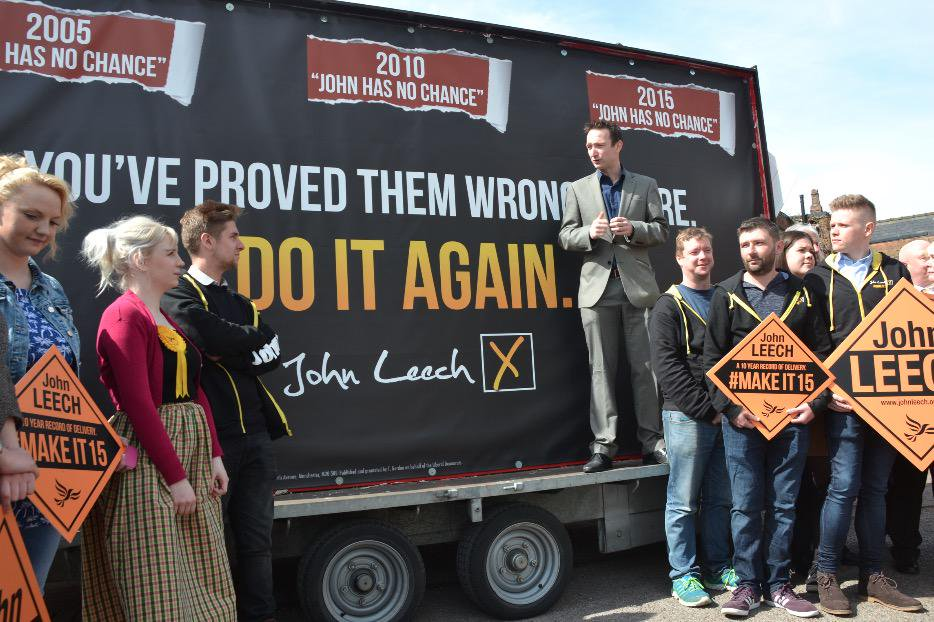 John Leech launches his re-election campaign