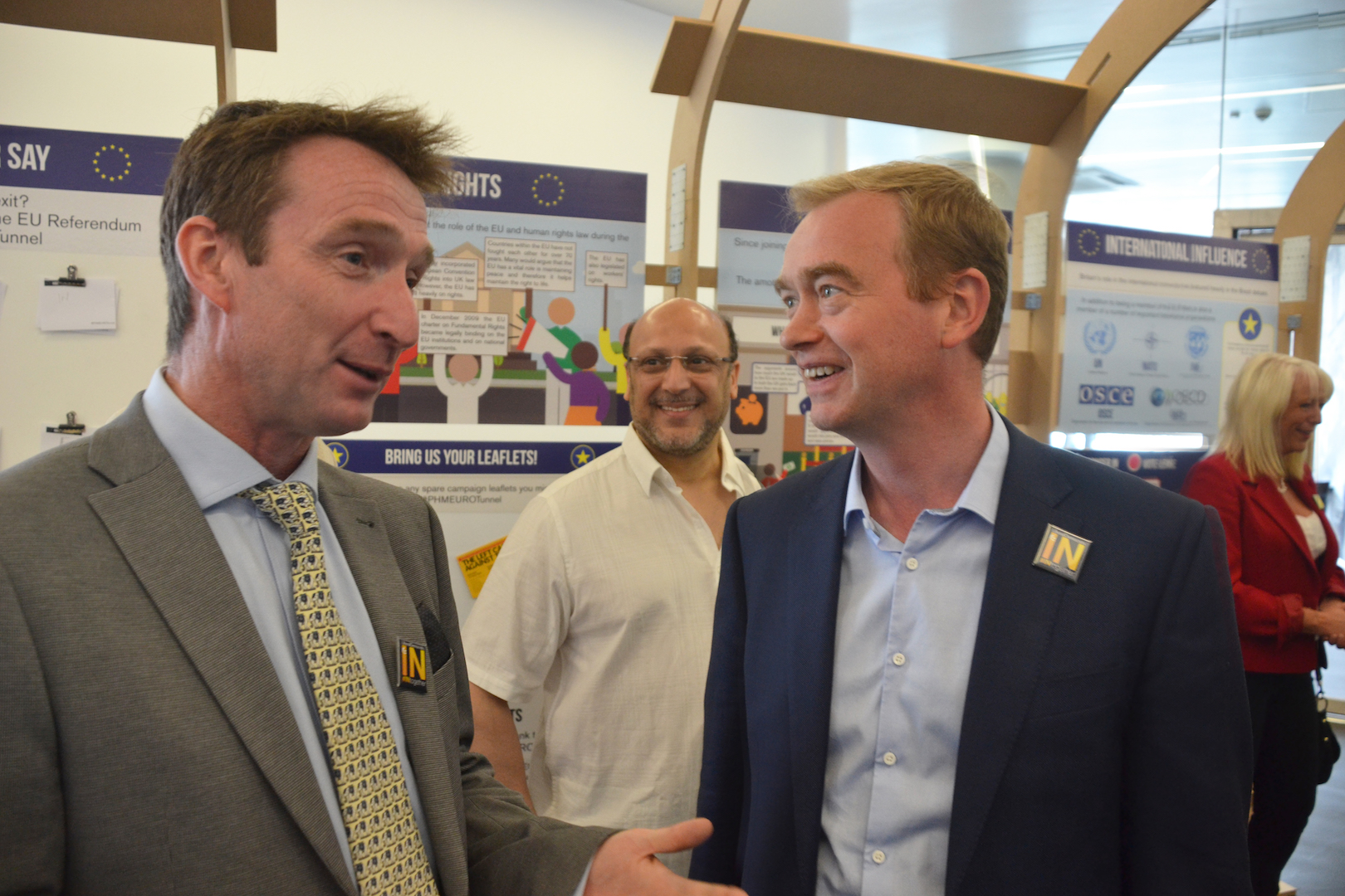 John Leech & Tim Farron at the IN OUT Euro Tunnel at the People's History Museum in Manchester