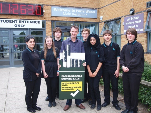 John supporting the campaign with Parrs Wood students