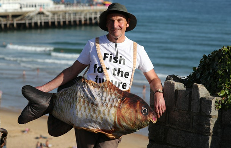 Chris Davies MEP dresses as fish at Lib Dem conference to promote sustainable fishing