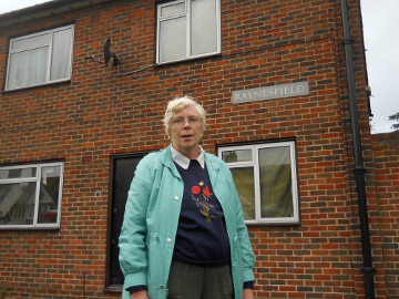 Cllr Mary-Jane Jeanes outside the Raynesfield estate