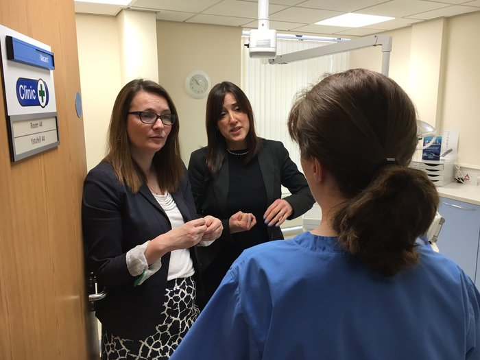 Jane Dodds and Kirsty Williams visit Oswestry Health Centre