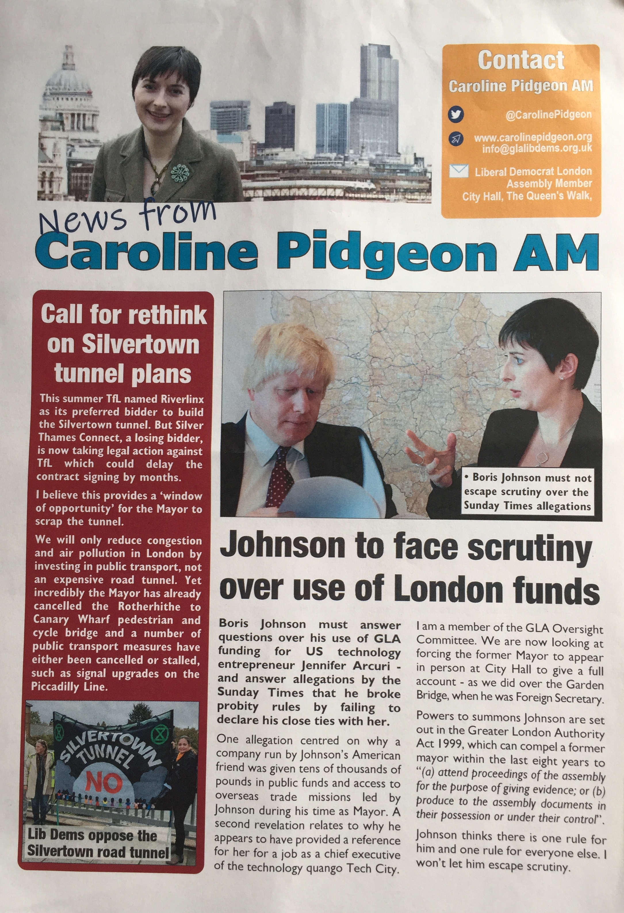Caroline Pidgeon AM Update