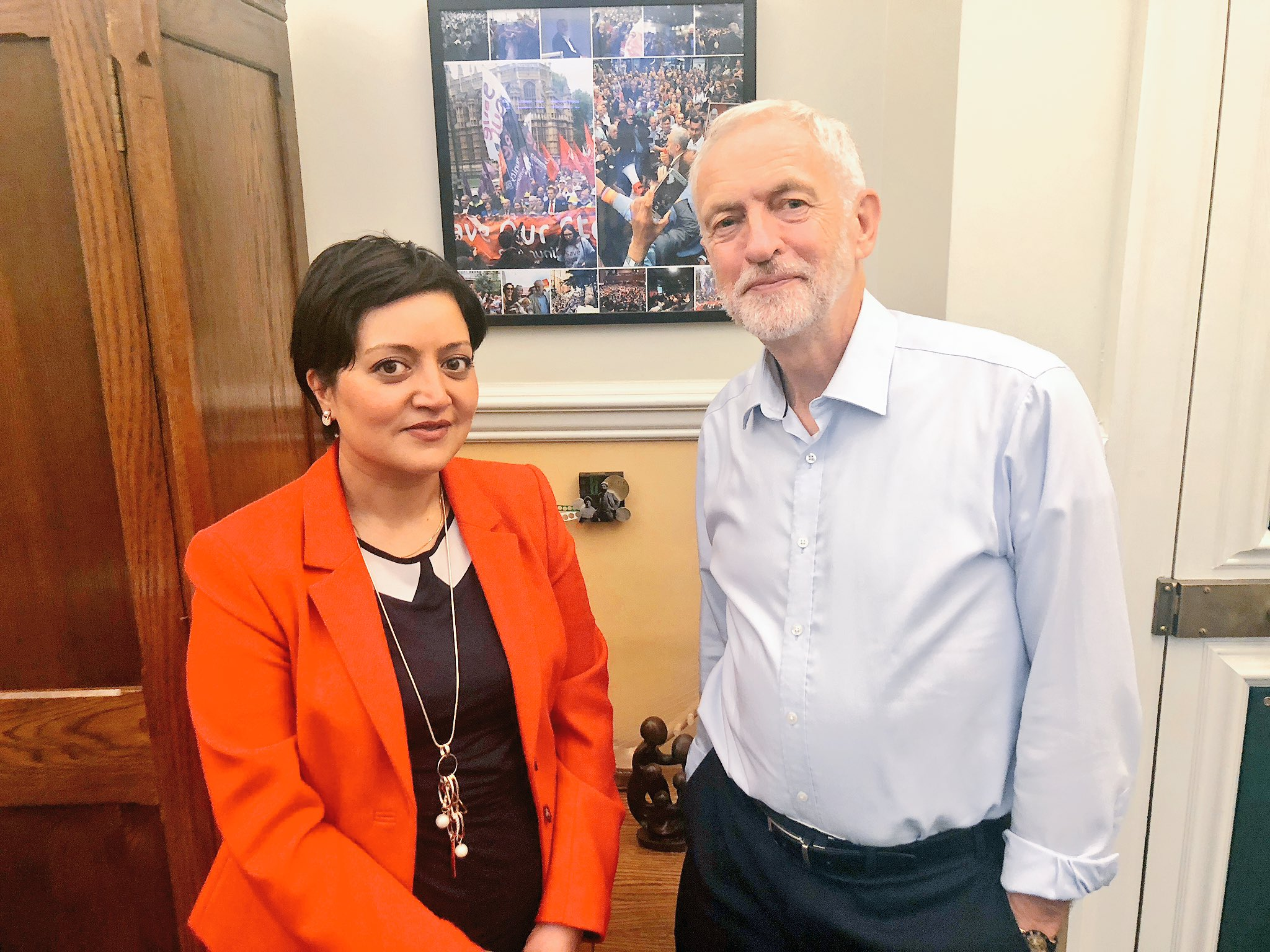 Current mayor Rokhsana Fiaz with former Labour leader Jeremy Corbyn