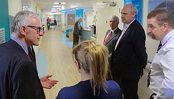 Norman Lamb with Nick Harvey and medical staff at North Devon District Hospital