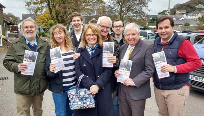Members of the Lib Dem team working in Braunton.