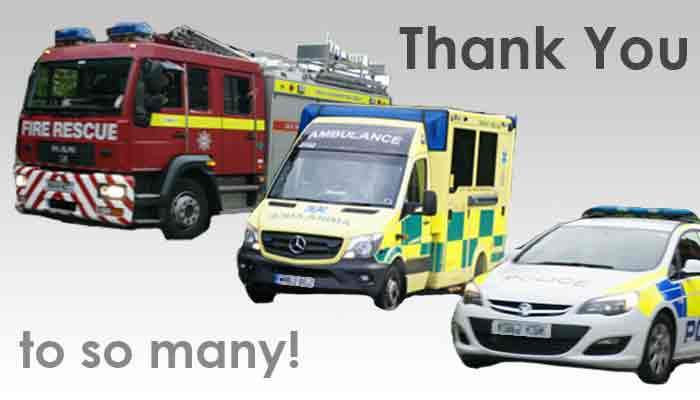 Graphic showing fire, police and ambulance vehicles and tecxt Thank You to so many!
