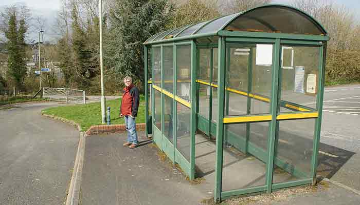 Disused bus shelter