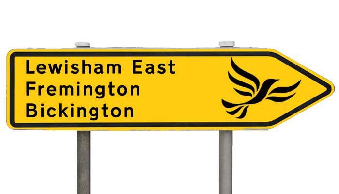Graphic pointing Lib Dems the way to Lewisham East, Fremington and Bickington