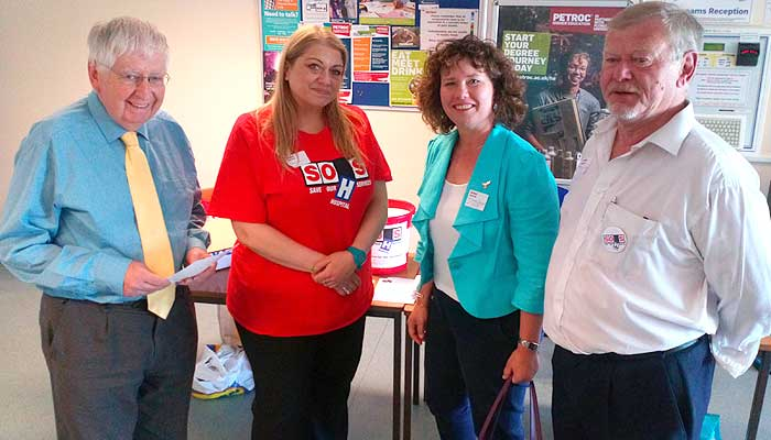Local Lib Dem members at Save Our Hospital Services Question Time at Petroc College.