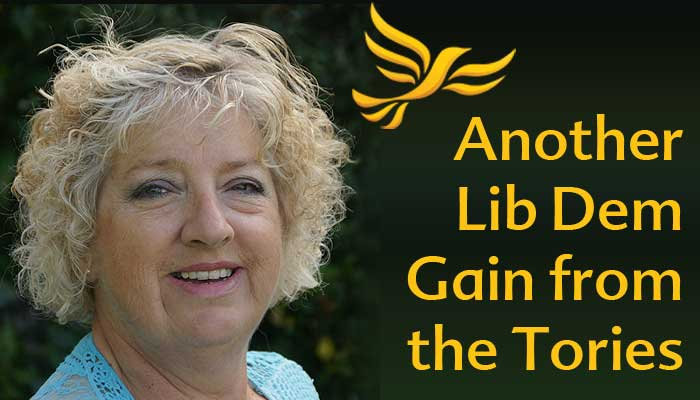 Image of Cllr Joy Cann with Caption 'Another Lib Dem Gain from Tories