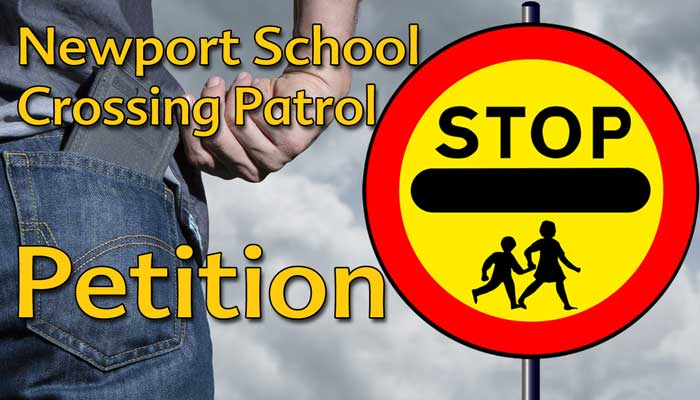 Graphic showing a wallet in someones pocket and a school crossing patrol sign.