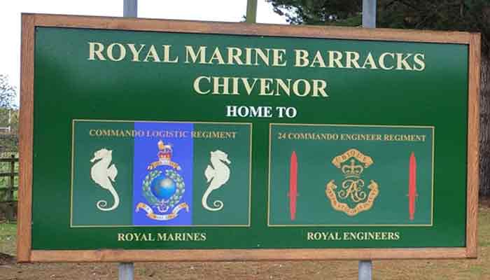 Entrance sign to RMB Chiveor showing Commando Logistic Regiment badge
