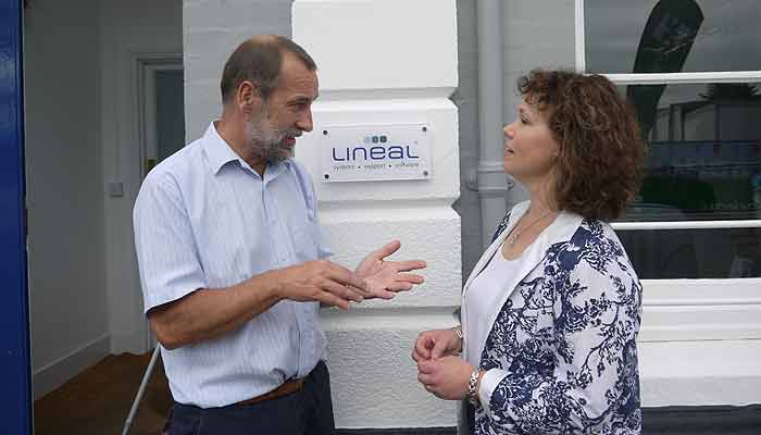 Dr Johnson is photographed at a visit to local firm, Lineal, meeting the MD, Mike Matthews
