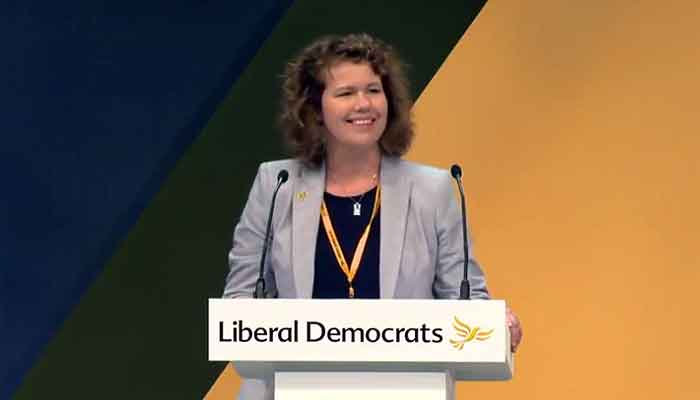 Dr Kirsten Johnson speaking at the 2018 Lib Dem Conferene in Brighton
