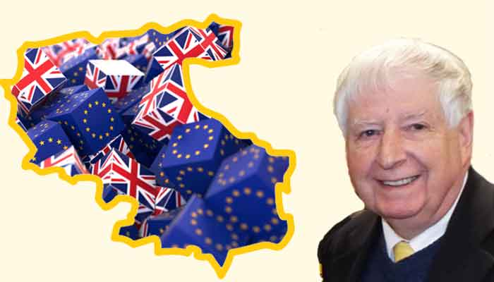 Graphic showing outline of North Devon District Council boundary, dice with union jacks and EU flags and Cllr David Worden.