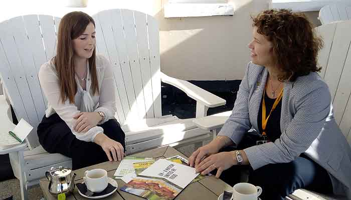 Kirsten Johnson, Lib Dem PPC for North Devon with Liv Phoenix, NFU External Affairs Manager