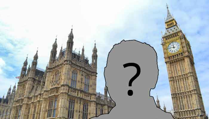 Picture of palace of Westminster backing silhouette of unknown man.