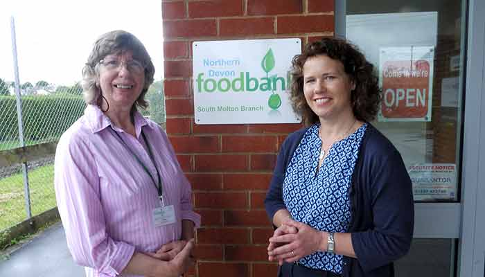 Jean Foster and Kiirsten Johnson at South Molton Food Bank