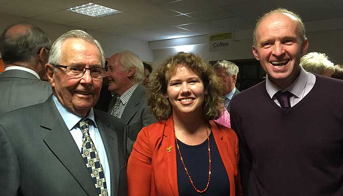 Kirsten Johnson and local farmer, Albert Cook (left)  and NFU Branch Chair, David Chugg