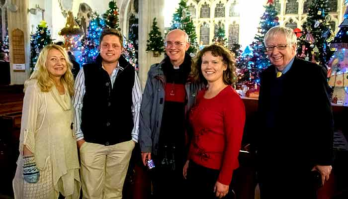 Christmas Tree Festival at South Molton's St Mary Magdalene Church with the vicar, the Revd Dr Michael Grandey. Also pictured are Liberal Democrat Cllrs Matt Bushell, Jacqui Footman and David Worden with Kirsten Johnson.