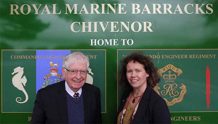 Kirsten Johnson with Cllr David Worden (leader of Lib Dems on NDDC) campaigning at RMB Chivenor,