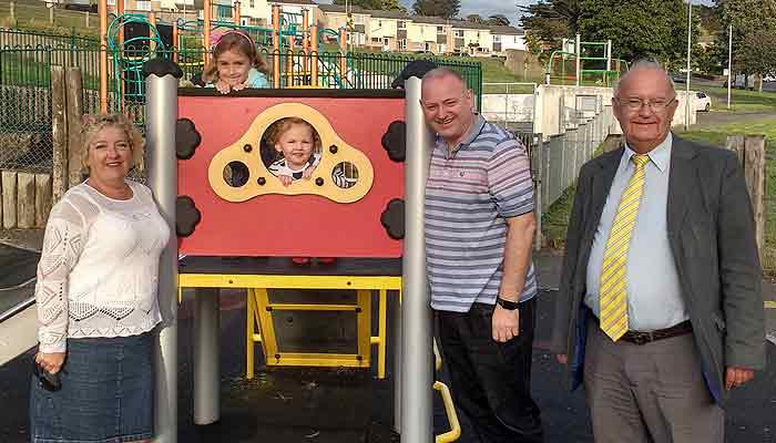 Cllrs Joy Cann, Ian Roome and Brian Greenslade at Gorwell play park.