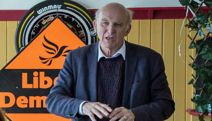 Liberal Democrat Leader, Sir Vince Cable speaking in Barnstaple, North Devon