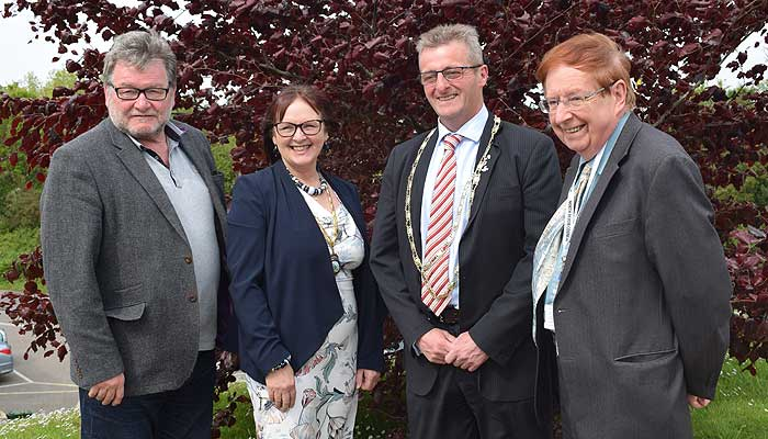 L-R: Councillor Malcolm Prowse (Deputy Leader), Councillor Julie Hunt (Vice Chairman), Councillor Frank Biederman (Chairman) and Councillor David Worden (Leader)
