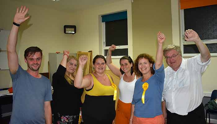Cllr. Ellie George (centre) celebrates her election with Kirsten Johnson (second right) and other supporters