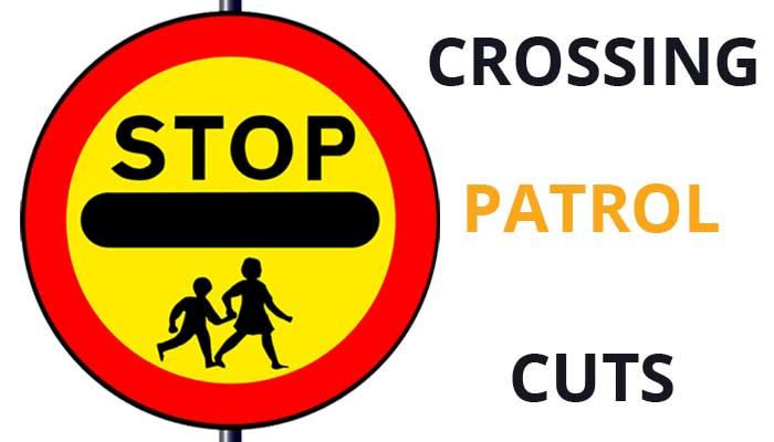 Graphic showing school crossing sign and Stop Crossing Patrol Cuts slogan