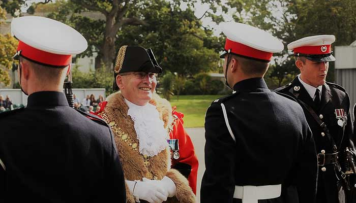 Mayor Cllr Alan Rennles at Kig's Squad Passing Out Parade, Royal Marine Commando Training Centre