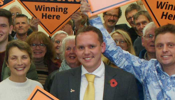 Alex White with supporters at candidate selection hustings