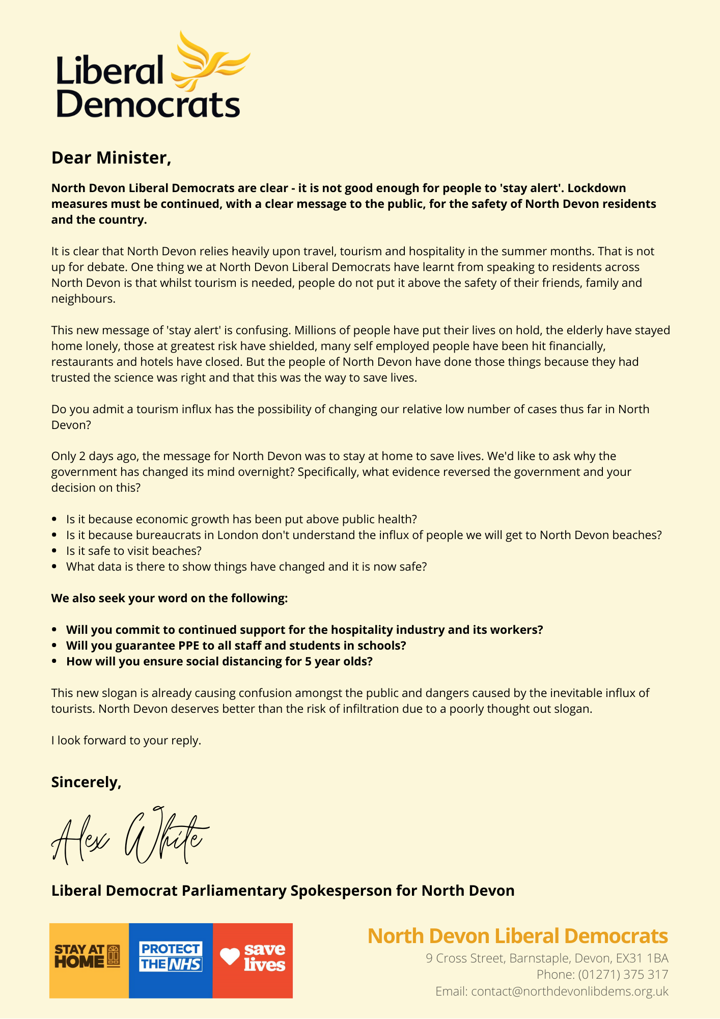 Copy of letter from Alex White to members of the government