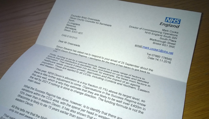 Image of letter from Mark Cooke