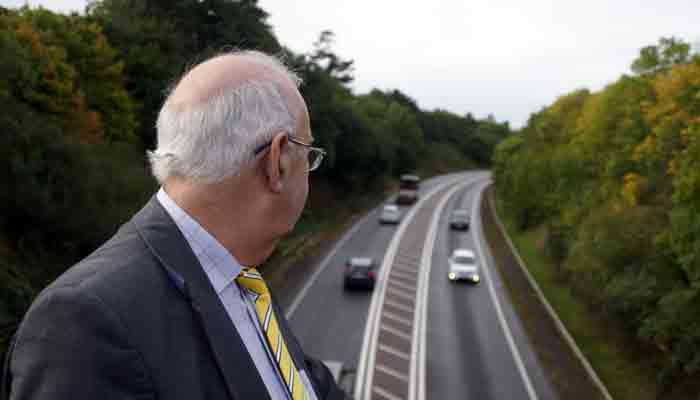 Cllr Brian Greenslade viewing the North Devon Link Raod