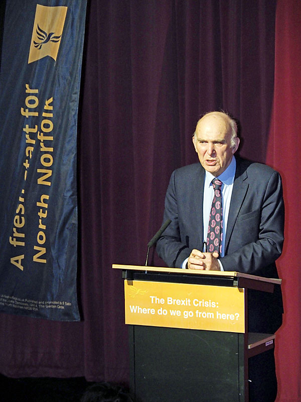 Vince Cable Speaking in North Walsham