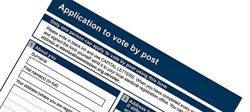 Postal vote application form